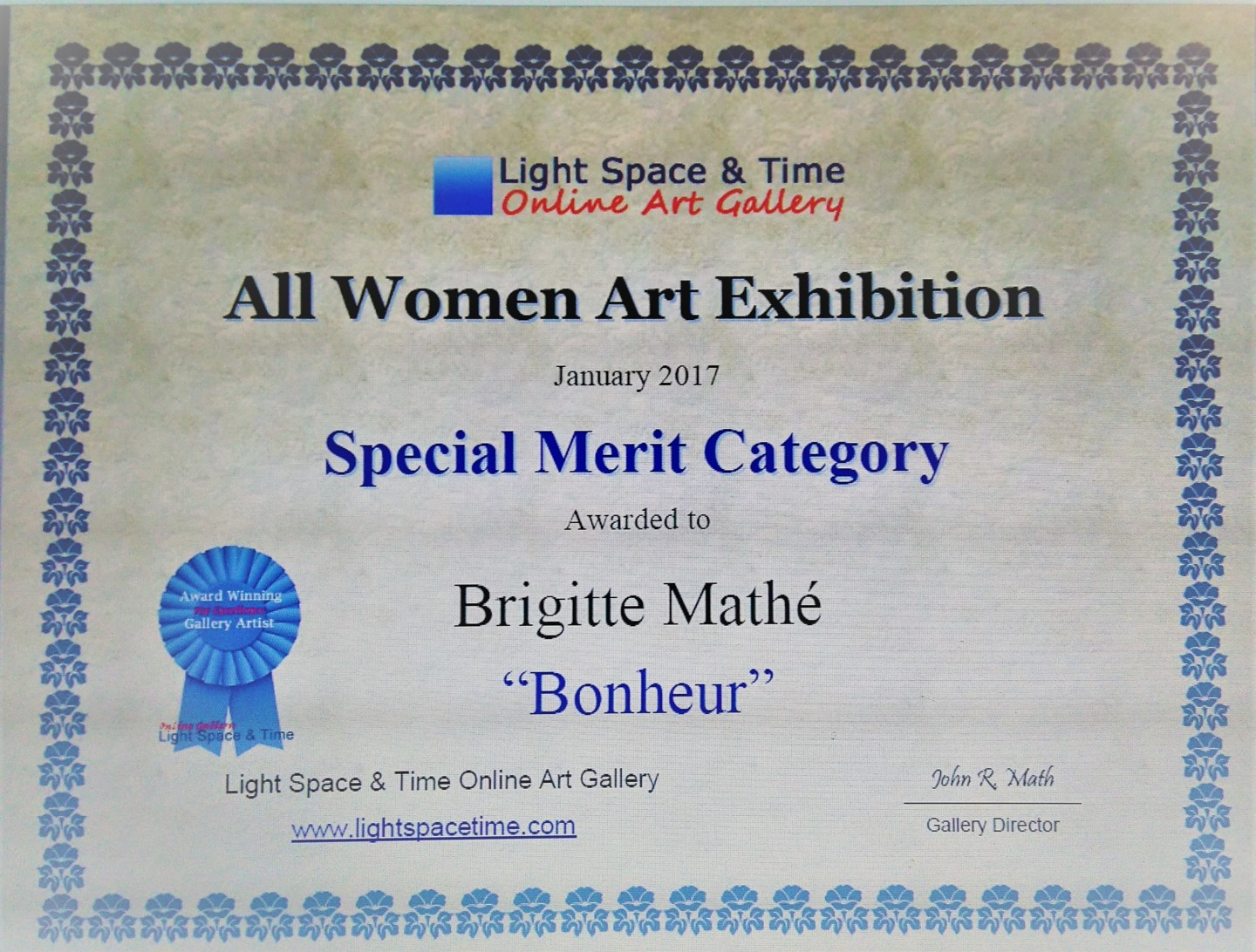 Brigitte Mathé (MBL) - All women Art Competition Special Merit