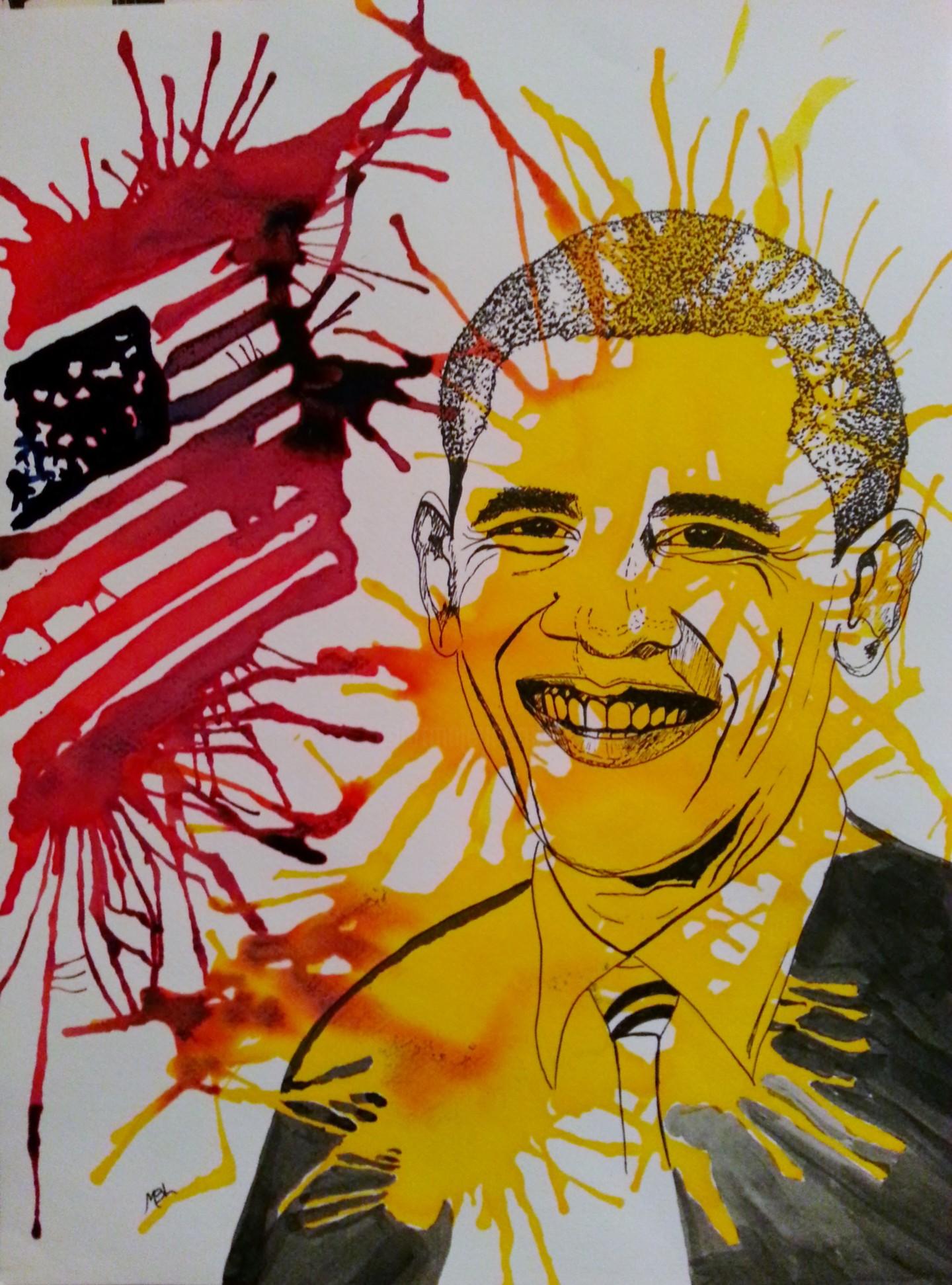 """Brigitte Mathé (MBL) - Président B. Obama, """"série Célébrités"""""""