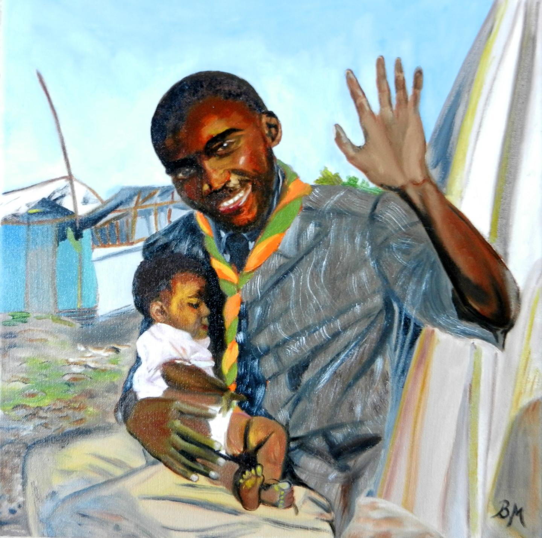 Brigitte Mathé (MBL) - Le scout et l'enfant- série Haïti