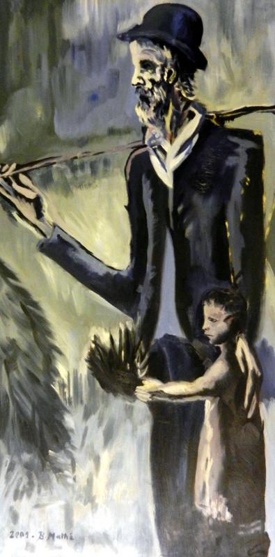 Brigitte Mathé (MBL) - Le mendiant et l'enfant (copie de Picasso, période bleue)