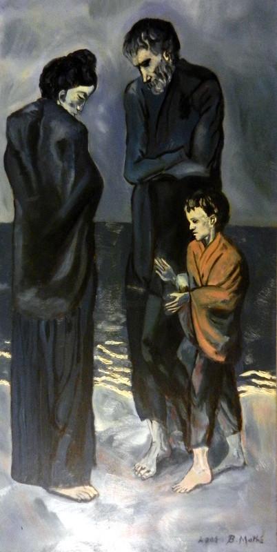Brigitte Mathé (MBL) - Le couple et l'enfant (Copie de Picasso - période bleue -)